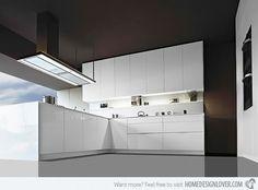 Modern white kitchen with splash back shelf.
