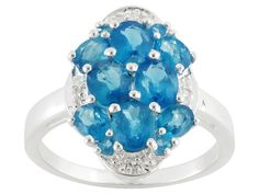 2.35ctw Oval And Round Neon Apatite With .09ctw Round White Topaz Ster