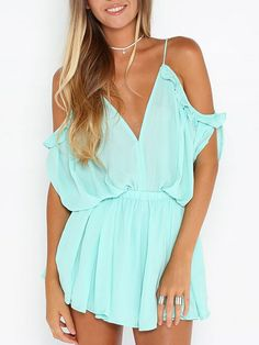 a19ca7c4af6 Blue Deep V Cold Shoulder Back Strap Romper Playsuit