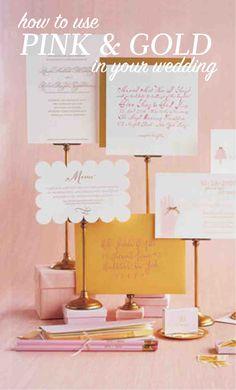 Wedding Colors: Pink and Gold Diy Wedding Decorations, Wedding Themes, Wedding Dreams, Dream Wedding, Perfect Wedding, Our Wedding, Pastel Wedding Colors, Martha Stewart Weddings, Colour Schemes