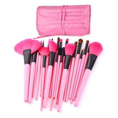 Total 24 brushes for facial makeup: Foundation Brush, Concealer Brush, Eyeshadow Brush, Eyebrow Brush, Blush Brush, Lip Brush, Mascara Brush etc.