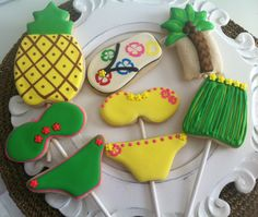 Luau Pool Party cookies by Tiffany