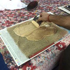 At the printers working with liquid gold! #ecru #printmaker #artisan #handmade #blockprint #paint #Jaipur #India #decor #design #interiors #create