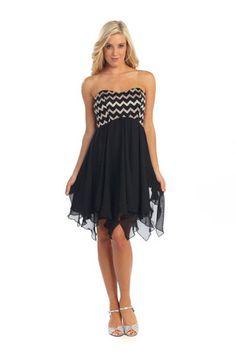 Strapless Short Black Frilly Dress