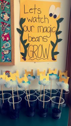 Jack and the beanstalk- growing Lima beans in our preschool science center