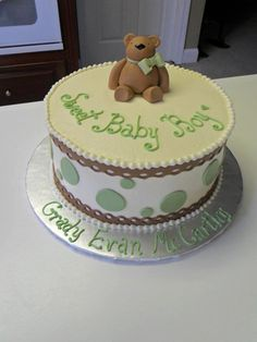 Teddy Bear Baby Shower Cake  Lake House Cake by Shannon