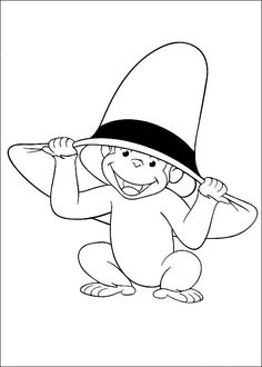 Curious George Coloring Pages Printable - Free Coloring Sheets Cartoon Coloring Pages, Colouring Pages, Printable Coloring Pages, Free Coloring, Coloring Pages For Kids, Coloring Sheets, Coloring Books, Curious George Party, Curious George Birthday