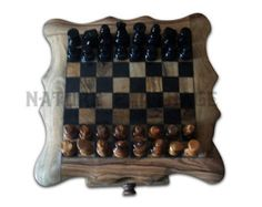 Olive wood rustic chess set board 11.8 Inch by NatureCarthage
