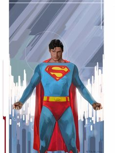 Christopher Reeve as Superman by Michael Stribling