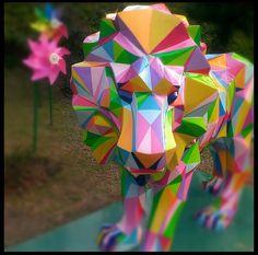 Geometric lion statue