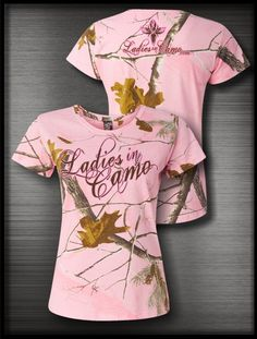 Womens Hunts, Ladies In Camo Pink Camo Short Sleeve. Perfect for hanging out at the lodge or wearing in town in support of my favorite hobby. www.LadiesinCamo.com
