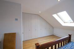 fitted wardrobes in a loft conversion West london Attic Loft, Loft Room, Bedroom Loft, Bedroom Storage, Loft Conversion Gallery, Attic Conversion, Bungalow Extensions, Built In Cupboards, Cute Bedroom Ideas