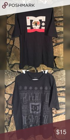 """D.C. GRAPHIC TEES LOT OF 2 DC Trademark Graphic Tees LOT of 2 Black- California Republic  Black- Property of DC Shoe Co. Excellent Used Condition Black color 100% Cotton Total Length: 31""""(see measurement guide) Sleeve Length: 6""""(see measurement guide) Men's Size: XX-Large Crew Neck, Relaxed Fit #10035 DC Shirts Tees - Short Sleeve"""