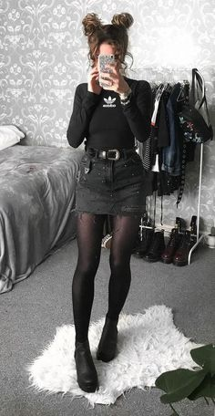 Long sleeved Adidas top with black shorts, tights and black boots by sophie.seddon - #grunge #alternative #fashion