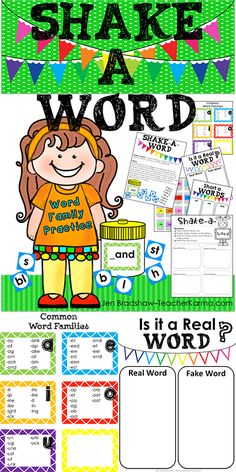 Phonics and Word Family READING Game: SHAKE A WORD is perfect for a literacy center, RTI reading intervention, small group instruction, partner work, or individual practice. TeacherKarma.com
