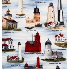 Tecido para Patchwork US Light Houses