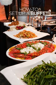 Buffets work for both small and large gatherings, particularly the latter. Here are our how-to tips: http://www.colincowieweddings.com/articles/food-drink/how-to-set-up-a-buffet