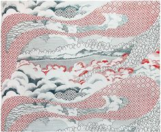fabric by Serena Perrone, who makes silk-screened photolithographs that meld images recalling Japanese Edo woodcuts with domestic Western objects and architecture. The fabric is called Biwa, after a lake in Japan, and it is hand-printed to order by Ryan Parker and Shelby Donnelly, technicians for the artists