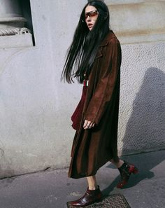 Long Brown Suede Coat   Street Style   LA COOL & CHIC