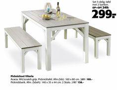 picknicktafel 3-delig tafel 2 banken picknickset vitoria wit scratch grijs lxb…