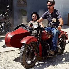 """f5f187e54cd5a CycleCrunch.com on Instagram  """" MCM  mikewolfeamericanpicker on his  vintage   1937  HarleyDavidson with  danielle colby american picker in the  sidecar."""