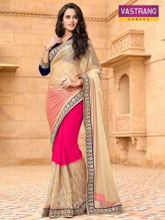 Lovely #Pink with #Beige Bember Georgette Net pallu Bordered #Saree Buy Now @ http://goo.gl/6jCYoZ #NaarikeSangVastrang