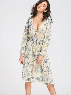 See Thru Buttun Up Floral Midi Dress - LIGHT YELLOW S