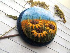 Needle felted embroidery brooch Sunflower jewelry Gift for girlfriend Wool felt brooch Yellow sunflowers brooch Xmas gifts Eco friendly felt