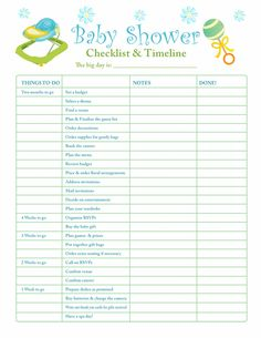 Printable Baby Shower Planner  Baby Shower Checklist  Baby
