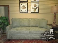 "The Manhattan sofa in a sage green upholstery. Nice simple, straight lines! These would be ideal for almost any style home. Super neutral look. And a great price too! Measures 75""long x 36""deep x 36""high. Arrived: Monday January 9th, 2017"