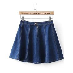 SheIn(sheinside) Navy High Waist Flare Denim Skirt ($16) ❤ liked on Polyvore