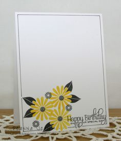 Stamps: PTI Beautiful Blooms II & Beautiful Butterflies Inks: Stampin Up Daffodil Delight Other: Acrylic Dots & Micron pen #03