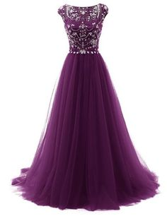 Gorgeous Beaded Grape Prom Dress, Tulle Pageant Gown,