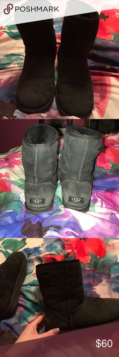 Black Ugg Boots Definitely used. There is a hole on the right side of the right boot. Other than that, just wear on the inside obviously. They aren't in terrible condition and have lots of life left! I am having surgery tomorrow so I won't be able to ship until January 5-6th. Comment for questions! I wear like a 6.5-7.5 so I don't know why I purchased these as a size 8 lol. But if you wear any of those sizes these boots will probably still fit you :) UGG Shoes Winter & Rain Boots