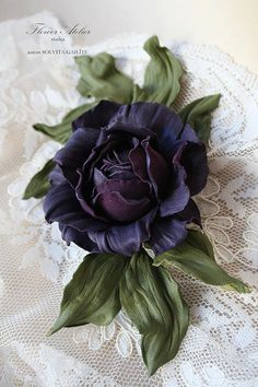 Leather flower corsage  Leather brooch Leather hair piece Violet flower accessories Leather jewelry Mother's Day gift Women headband