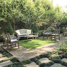 """Backyard Retreat                                          The different """"rooms"""" in this courtyard are defined by the ground materials. The living area features a perfect turf """"rug""""                                            surrounded by brick."""