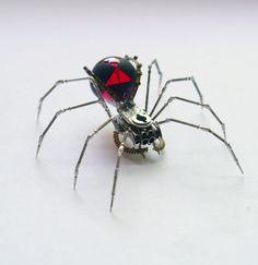 Black Widow Spider Sculpture No 59 Recycled Watch Parts Clockwork Arachnid Figurine Stems Lightbulb Arthropod A Mechanical Mind Gershenson