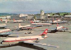 A crowded apron at Zürich-Kloten, circa 1965. (Photo: Ernst Baumann)
