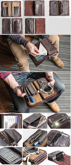 Leather iPhone Smart Phone Wallet Case Built-in Cable Cord Organizer Pen Pencil Holder Credit Card Passport Holder Bag