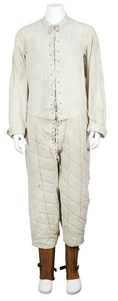 "Lot #4 in Mears May 6, 2017 Monthly Sports Auction could be the oldest surviving football uniform in existence. The late Victorian white canvas uniform includes one of only two known surviving examples of a long-sleeved football jacket, or ""smock,"" and a pair of early quilted pants. Likely dating to between 1885 and 1895 $8,711"