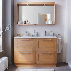 Meuble sous-vasque 120 cm Essential - CASTORAMA | deco salle de ...