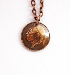Domed Coin Pendant Vintage Necklace Belgium by Hendywood on Etsy