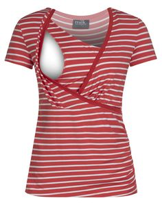 34b2244d26523 Crossover striped nursing top in coral