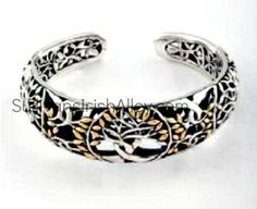Keith Jack Celtic Tree of Life Bangle Bracelet Sterling Silver and 18K gold