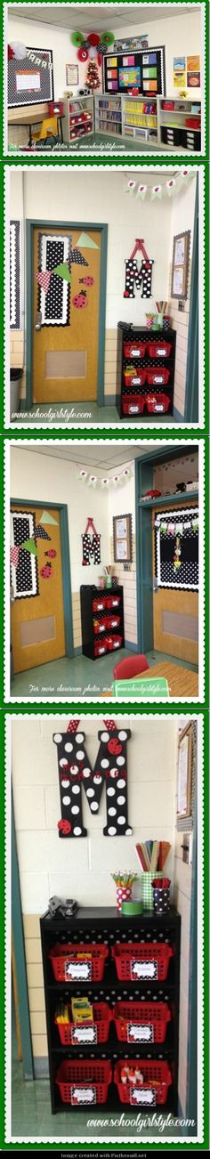 Ladybug Theme with black and white polka dots and red colors.