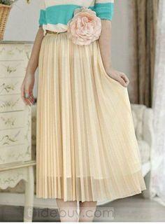 Best Korean Style Pleated Maxi Empire Waist Chiffon Lace Skirt : Tidebuy.com