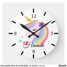 Shop Personalize Your Own Floral Magical Unicorn Round Clock created by Kiddies_Corner. Personalize it with photos & text or purchase as is! Wall Clock Nursery, Nursery Decor, Room Decor, Wall Clock Cartoon, Personalized Clocks, Clock Craft, Clock Painting, Clock For Kids, Magical Unicorn