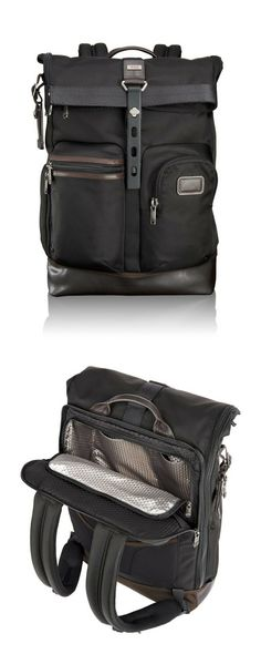 The Tumi Luke Roll Top backpack is a versatile, unstructured travel backpack that combines casual business and travel design. The largest nylon backpack of the Alpha Bravo collection it is perfect for packing clothes, files, a laptop and other electronics. Shop TUMI at Betty Hemmings!