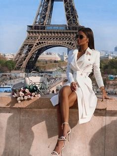 New White Drawstring Pockets Buttons Square Neck Long Sleeve Fashion Coat – european travel outfit summer Mode Outfits, Fashion Outfits, Womens Fashion, Fashion Blouses, Travel Outfit Summer, Summer Outfits, Mode Rihanna, Mode Mantel, Outfits Mujer