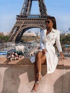 New White Drawstring Pockets Buttons Square Neck Long Sleeve Fashion Coat – european travel outfit summer Travel Outfit Summer, Summer Outfits, Look Fashion, Spring Fashion, Fashion Coat, Mode Outfits, Fashion Outfits, Fashion Blouses, Mode Rihanna